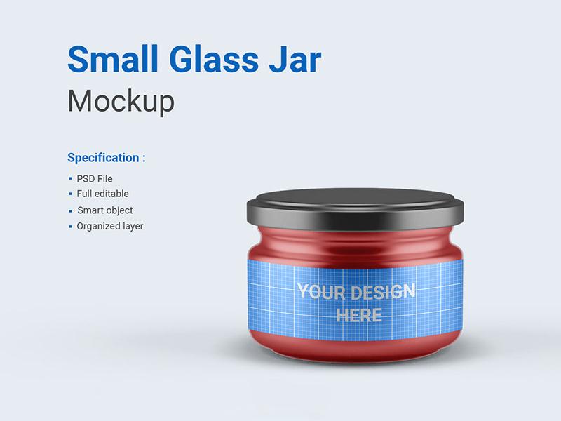 Small Glass Jar Mockup