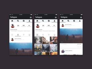 Концепция пользовательского интерфейса Instagram