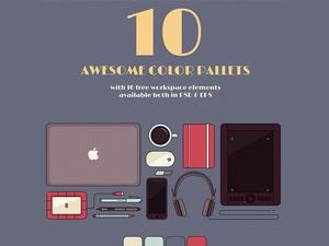 10 Flat Workspace Elements & Color Palettes