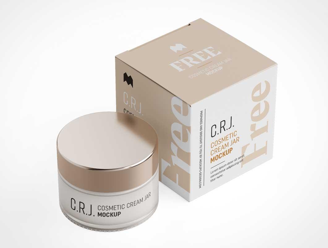 Cosmetic Cream Jar & Brand Box Packaging PSD Mockup