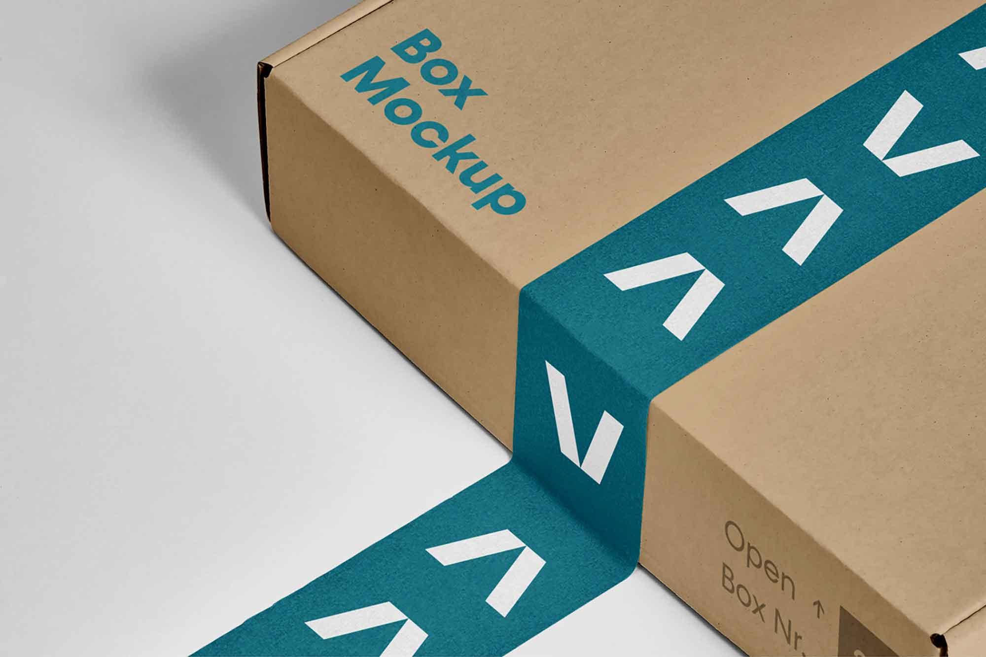 Free Box with Tape Mockup