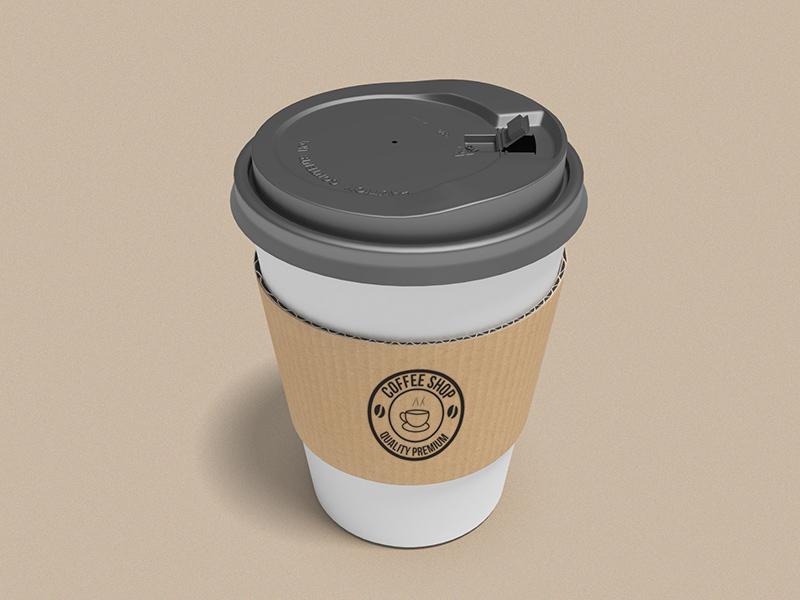 Coffee Cup Mockup With Cardboard