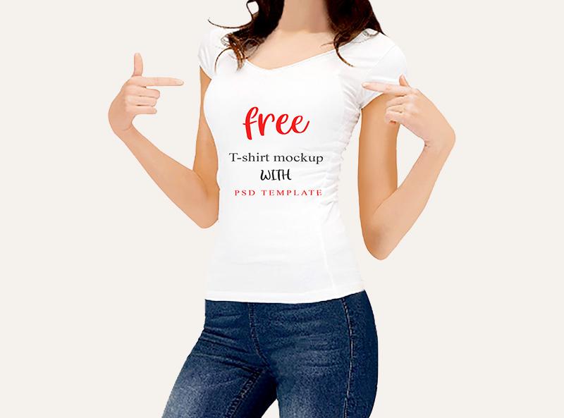 Woman T Shirt Mockup Design Template Free Psd Templates
