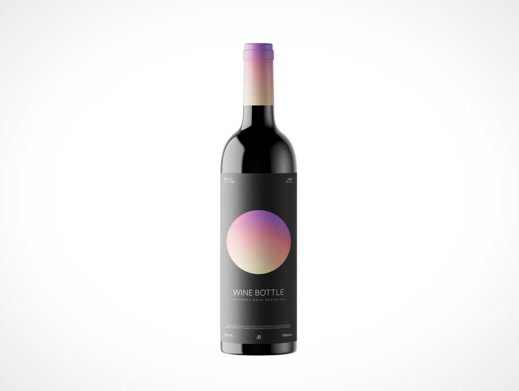Glossy Wine Bottle PSD Mockup