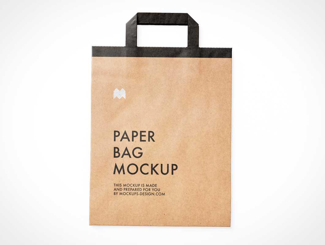 Recycled Folded Kraft Paper Bag PSD Mockup