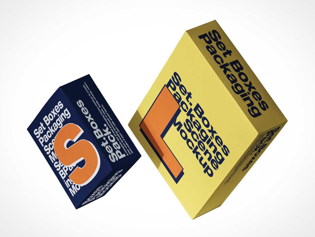Rigid Cardboard Box Packaging PSD Mockups