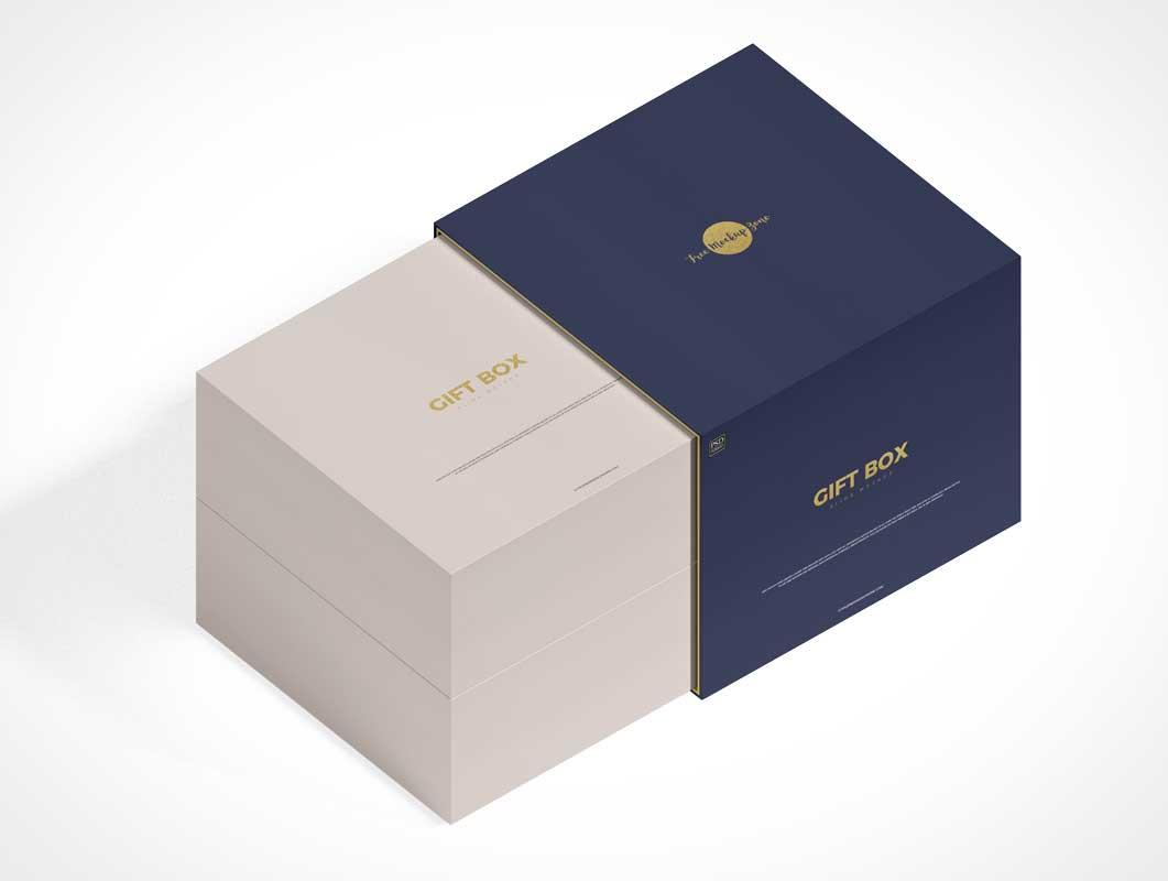 Square Sliding Gift Box PSD Mockup
