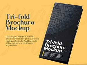 A4 Tri-fold Brochure PSD Mockup