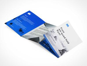 A5 Quad-Fold Panel Flyer PSD Mockups