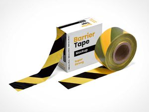 Barrier Tape Roll & Box PSD Mockup