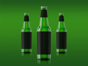 Single Beer Bottle Mockup