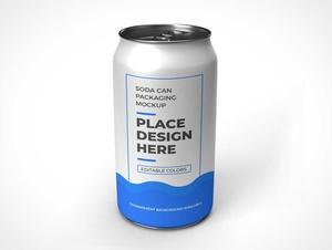 Blank Soda Can PSD Mockup