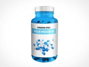 Blue PET Plastic Packer Pill Bottle PSD Mockup