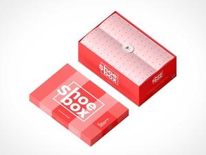 Branded Shoe Box Cardboard Packaging PSD Mockup
