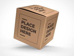 Corrugated Square Shipping Box PSD Mockup