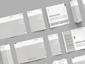 Folding Brochure Mockup Set