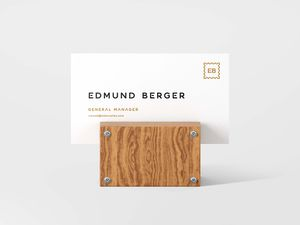 Free Business Card with Wooden Support Mockup