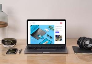 Free Desk MacBook Pro Mockup