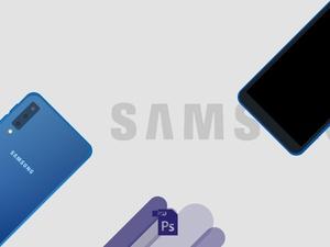 Samsung Galaxy A7 2018 Flat Mockup