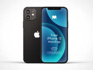 Free iPhone 12 Front & Back PSD Mockups