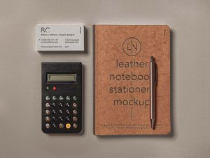 Free Leather Cover Notebook Mockup