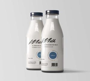 Free Milk Bottles Mockup