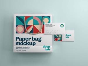 Free Paper Bag & Business Card Branding Mockup