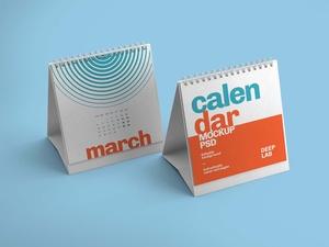 Free Realistic Desk Calendar Mockup