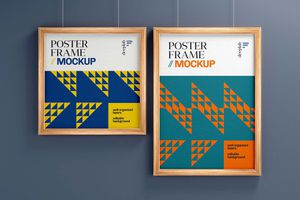 Free Realistic Wood Frame Poster Mockup