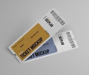 Free Tickets Set Mockup