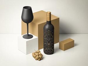 Perspective Wine Bottle & Packaging Mockup