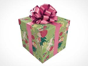 Geschenk eingewickelter quadratischer Geschenkbox & Bow PSD-Modell