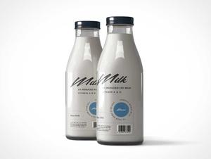 Glass Milk Bottle Jugs PSD Mockup