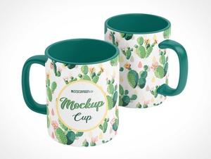Glazed White Ceramic Coffee Mug PSD Mockups