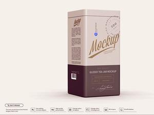 Glossy Tea Jar Mockup