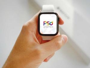 Holding Apple Watch PSD Mockup