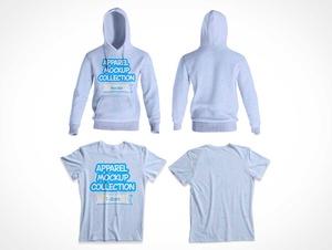 Hoodie & Children's T-Shirt Apparel PSD Mockups