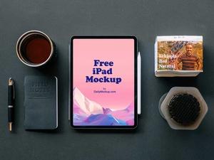 iPad on Desk Free PSD Mockup