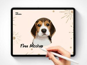 iPad Pro & Hand Holding Apple Pencil PSD Mockups