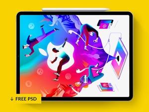 iPad Pro + Pencil 2018 Mockup