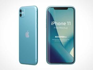 iPhone 11のフロント&バックビューPSD Mockup