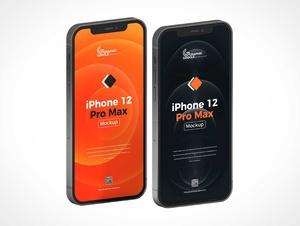 Isometric iPhone 12 Pro Front & Back PSD Mockup