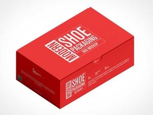 One-Piece Corrugated Shoe Box PSD Mockup