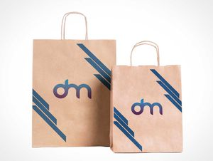 Paper Grocery Bag & String Handles PSD Mockup