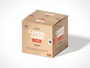 Recycled Brown Cardboard Box PSD Mockup