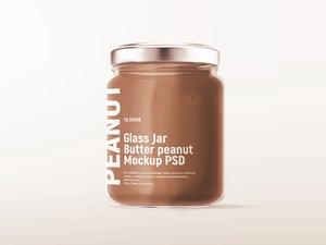 Glass Jar Butter Peanut Mockup