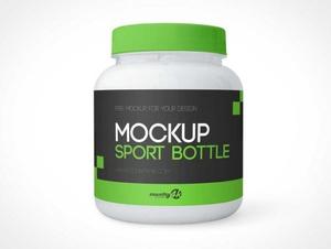 Sport Protein Powder Bottle PSD Mockups