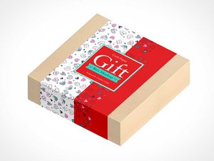 Square Craft Paper Gift Box PSD Mockup