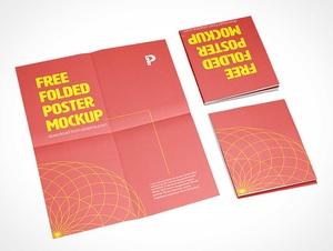 Square Folded Paper Poster PSD Mockups