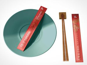 Wood Chopstick Paper Packaging PSD Mockup
